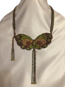 Jeweled Copper Filigree Butterfly Necklace - [ Roxanne Anjou Closet ]