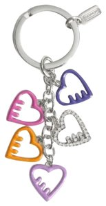 Coach Coach Poppy Enamel Multicolor Hearts Mix Keychain