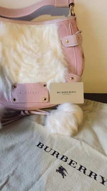 Item - Leather/Fur Pink/Cream Leather/Suede and Faux Fur *reserved For Adam* Shoulder Bag