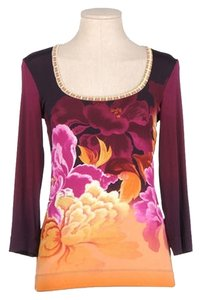 Just Cavalli Stretchy Top Multi - Gold, Purple, Pink
