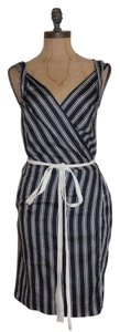 NAF NAF short dress BLUE Wrap Striped Pockets Cotton on Tradesy