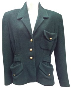 Donna Karan Boucle Emerald Blazer Military Jacket