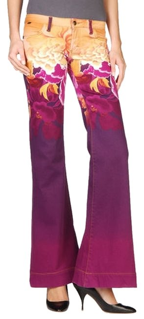 Item - Multi - Gold Purple Pink Ombre Jeans Rose Print Floral Stretch Jeans Stretchty Pants Size 2 (XS, 26)