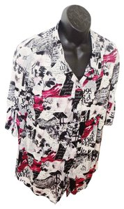 Style & Co Stretchy Mutli-colored Blouse Macy's Adjustable Button Down Shirt Black, White, Fuschia