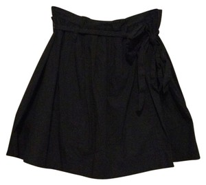 J.Crew Poplin Pleated Tie Bow Belted Mini Mini Skirt Navy Blue