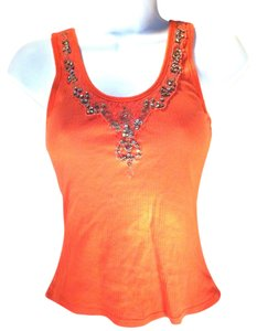 Marciano Ribbed Lace Rhinestones Top Coral
