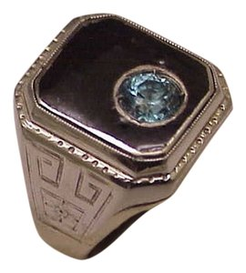 Other Fabulous Antique Art Deco 10K White Gold MENS Natural 1.00carat Blue Zircon Enamel And Hand Graved Sides,Weight 11gr, 1920s