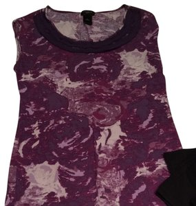 Ann Taylor Scoop Neck Plum Black Multi-print T Shirt plum, multi
