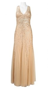 Adrianna Papell Champagne Beaded Gown Dress