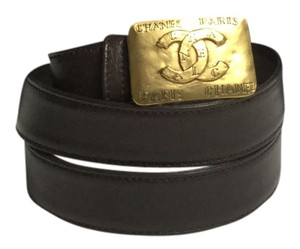Chanel Square Buckle Brown Leather Belt