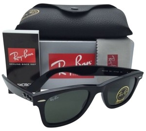 Ray-Ban New Ray-Ban Sunglasses RB 2140 901 47-22 145 WAYFARER Black Frame w/ Green Lenses