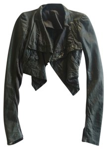 2230c35ff Rick Owens Gray Girl Dark Brown Cropped Leather Biker (Cool-girl Staple )  38 Jacket Size 4 (S) 75% off retail
