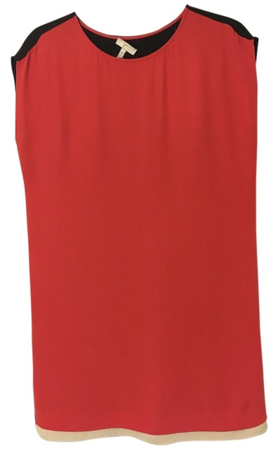 Item - Orange/ Red/ Black Silk Casual Formal Mid-length Night Out Dress Size 2 (XS)