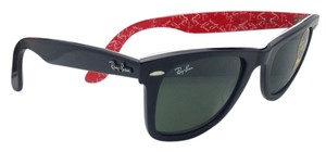 Ray-Ban New RAY-BAN Sunglasses RB 2140 1016 50-22 Black On Red text Frame w/Crystal Green lenses