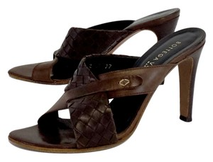 Bottega Veneta Brown Leather Criss Cross Sandals