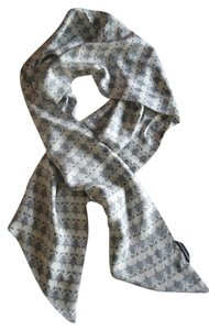 Thomas Wylde THOMAS WYLDE GRAY AND WHITE SILK SKULL PRINT SCARF / WRAP