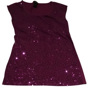 Ann Taylor Tanktop Sequin Date Night Top plum