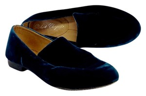Robert Clergerie Dark Teal Velvet Slippers Flats