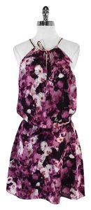 Parker short dress Purple Black Floral Print on Tradesy