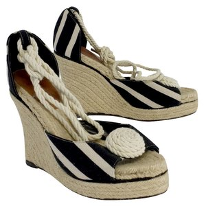 Kate Spade Black & Cream Striped Espadrille Wedges