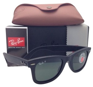 Ray-Ban New RAY-BAN Polarized Sunglasses RB 2140-Q-M 1152/N5 Black Leather Frame w/ Green Lenses