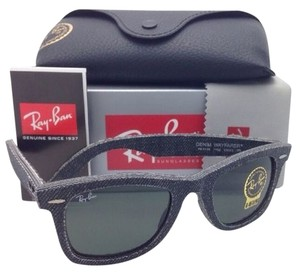 Ray-Ban New RAY-BAN DENIM WAYFARER Sunglasses RB 2140 1162 50-22 Black Denim Frame w/Green Lenses