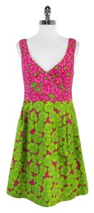 Nanette Lepore short dress Pink & Green Floral Cotton on Tradesy
