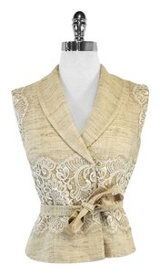 St. John Gold Lace Embroidered Tweed Vest