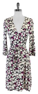 Diane von Furstenberg short dress Navy White Floral Silk Wrap on Tradesy