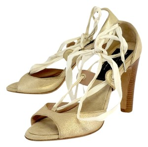 Marc Jacobs Gold Suede Lace Up Heels Sandals