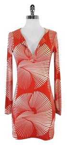 Diane von Furstenberg short dress Orange White V-neck on Tradesy