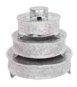 Silver 22'' Round Cake Stand Other