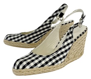 Stuart Weitzman Black & White Checkered Espadrille Wedges