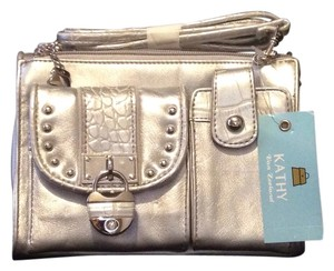 Kathy Van Zeeland Crocodile Metallic Organizer Casual Cross Body Bag