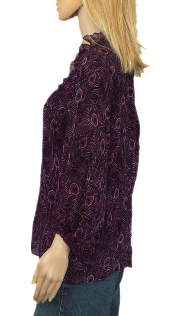 Nanette Lepore Top Plum /Black/ brow silk