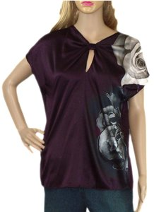 Tahari Top Purple/Beige/Black silk