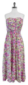 Yumi Kim Pink Yellow & Blue Floral Strapless Dress