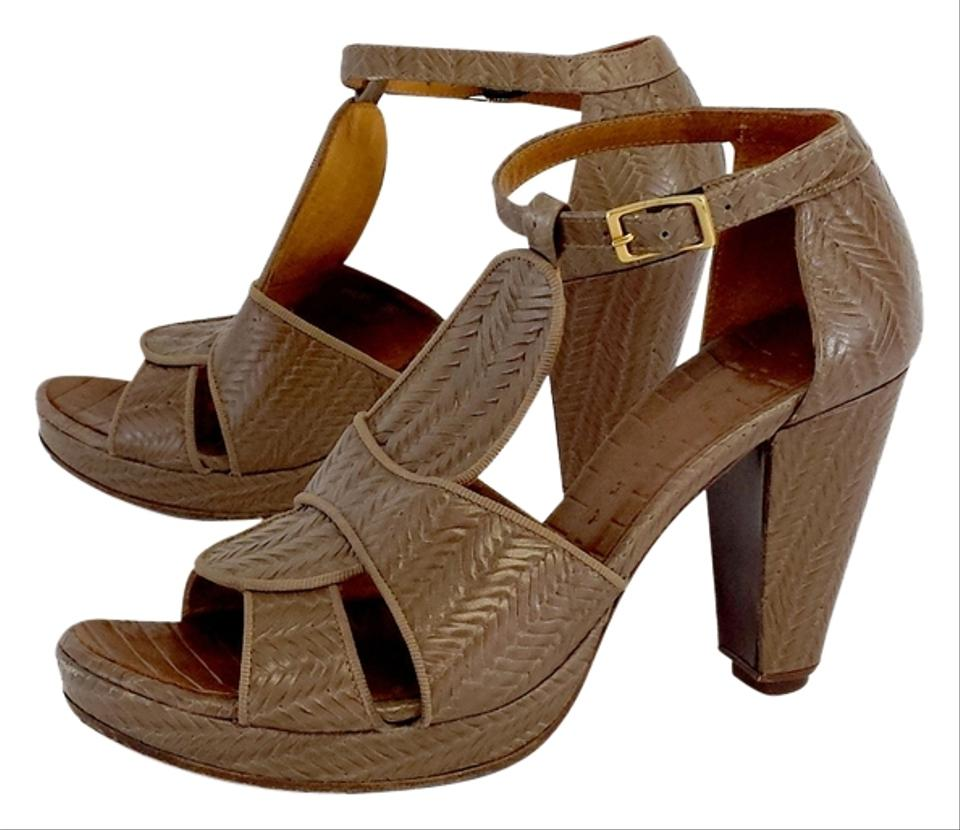 Chie Mihara Brown Leather Woven Sandals Heels Sandals Woven 3a2fd5