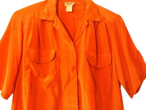 Units Short Sleeves Size 16 100% Polyester Dress Vintage Two Front Pockets Top Orange