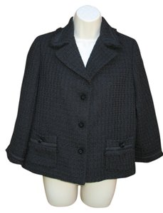 Talbots Tweed Fringe Cotton Jacket Evening Black Blazer