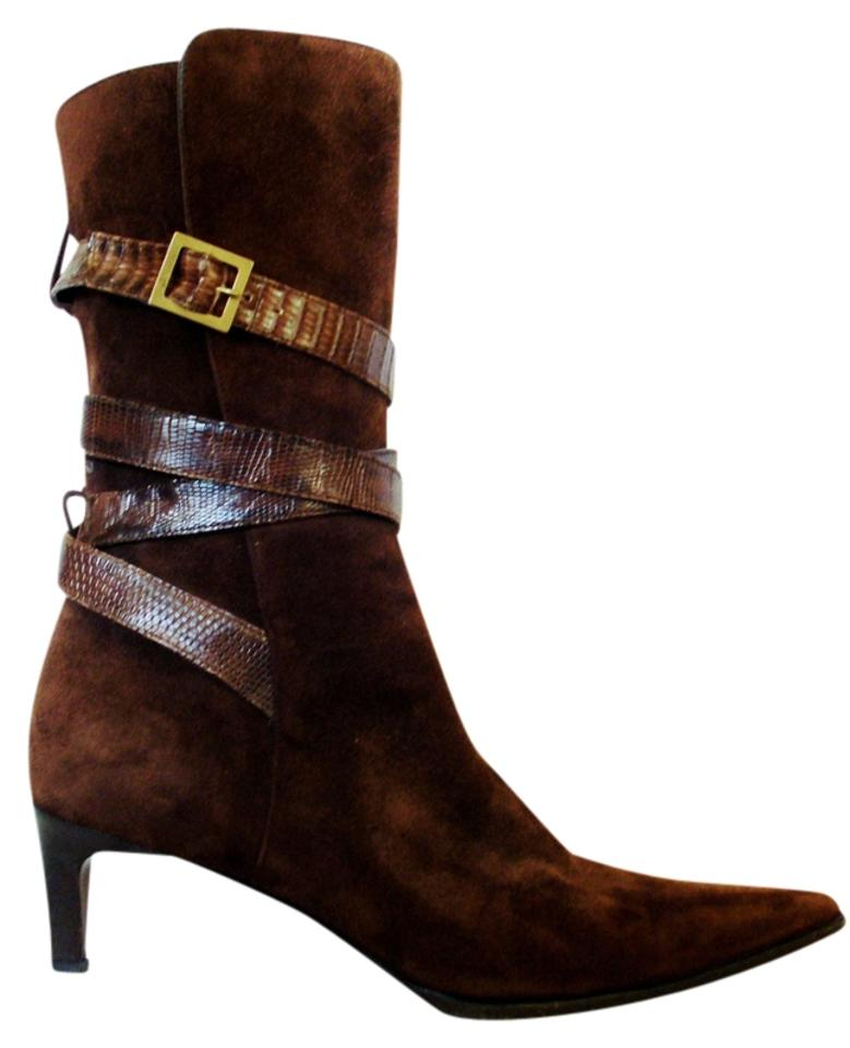 fba9196cbb24 Ralph Lauren Ankle Midcalf Pointed Toe Wrap Suede Chocolate Leather Brown  Boots Image 0 ...