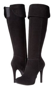 Jessica Simpson Thigh High Stiletto Platform Kitten Suede Black Suede Boots