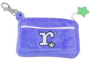 Plush Zippered Coin Purse - Embroidered Monogram -