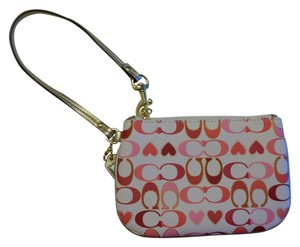 Coach Pink Heart Small Heart C Logo New Wristlet in White Pink