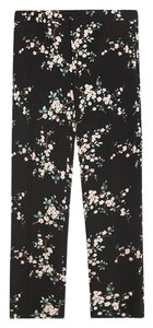 Zara Capri/Cropped Pants Pink Floral on Black