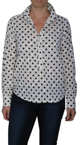 J.Crew #modern Preppy #polka Top Ecru with Navy and Cream Dots