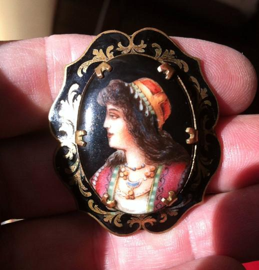 Other RARE Estate Antique Victorian Hand Painted Transfer Porcelain Portrait Cameo Brooch