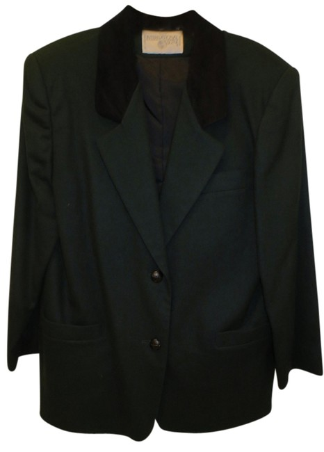 Preload https://item5.tradesy.com/images/dark-green-with-black-collar-wool-blend-fully-lined-jacket-pant-suit-size-12-l-1443884-0-0.jpg?width=400&height=650