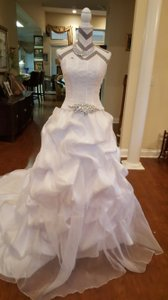 Maggie Sottero White Organza Taffeta Lace Two Piece Gown Traditional Wedding Dress Size 6 (S)