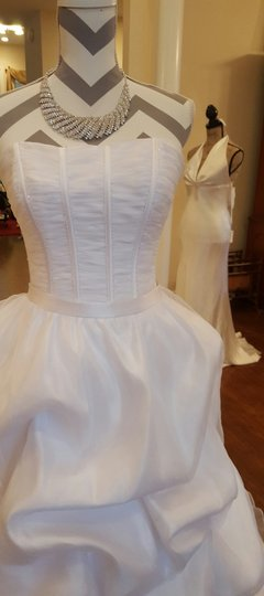 Maggie Sottero White Organza Taffeta Lace Two Piece Gown Traditional Wedding Dress Size 6 (S) Image 4